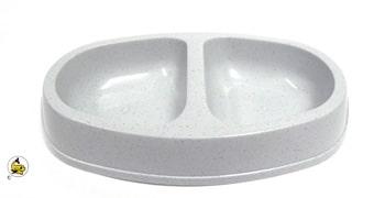 DM Plastskål dubbel oval M ljusgrå